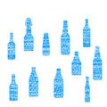 Bottle grunge set blue color Royalty Free Stock Photo