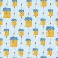 Fľaša alebo škrípať z med bezšvový vzor tlač na tkanina textilné byt vektor sklad ilustrácie sladký