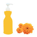 Bottle liquid soap vector plastic and marigold flower Royalty Free Stock Photo
