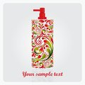 Bottle of lotion made of the leaf pattern vector eps illustration Royalty Free Stock Images