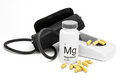 Bottle of Magnesium vitamins for healthy blood pressure Royalty Free Stock Photo