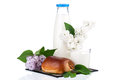 Bottle of milk with branch lilac and bun Royalty Free Stock Photo