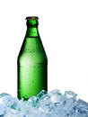 A bottle of mineral water with ice Stock Image