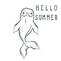 Bottle nose sea dolphin sketch with calligraphy Hello summer in Royalty Free Stock Photo