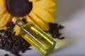 bottle of oil and sunflower seeds Royalty Free Stock Photo