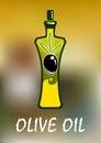 Bottle of olive oil with black fruit elegant curved sides golden splash on the bottom and over blurred background for Royalty Free Stock Photos