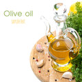 Bottle of olive oil garlic spices and fresh herbs isolated on white Stock Photography