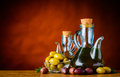 Bottle Olive Oil and Olives and Copy Space Royalty Free Stock Photo
