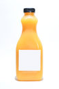 Bottle with orange juice on white background s blank label Stock Image