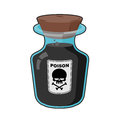 Bottle with poison. Magic Vintage bottle with a black potion. Sk Royalty Free Stock Photo