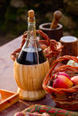 Bottle of red wine and fruit fresh Stock Photo