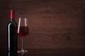 Bottle of red wine and glass Royalty Free Stock Photo