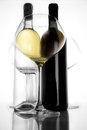 Bottle red and withe wine and glass III Royalty Free Stock Photo