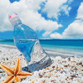 Bottle sea star and sun of water on white pebbles under a shining Stock Images