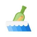 Bottle in sea vector illustration.