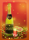A bottle of sparkling white wine and christmas decoration illustration Royalty Free Stock Photos
