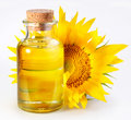 Bottle with sunflower Royalty Free Stock Photo
