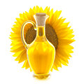 Bottle of Sunflower Oil with Sunflower Royalty Free Stock Photo