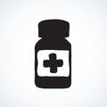 Bottle with tablets. Vector drawing