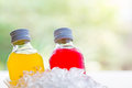 bottle with tasty drink in ice Royalty Free Stock Photo
