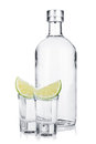 Bottle of vodka and shot glasses with lime slice Royalty Free Stock Photo