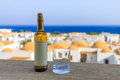 Bottle of white wine with empty label Royalty Free Stock Photo