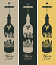 Bottle of wine banners set with a and vineyards and the church Stock Photos
