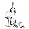 Bottle of wine and blue cheese hand drawn illustration Stock Photo