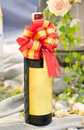 Bottle of wine with gift ribbon Royalty Free Stock Image