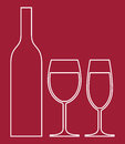Bottle and wine glasses on red background Royalty Free Stock Photos