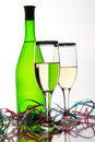 Bottle wine and goblets Royalty Free Stock Image