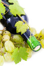 Bottle of wine and grapes. Stock Image