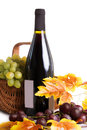 Bottle of wine with grapes in basket isolated on white Royalty Free Stock Photos
