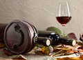 Bottle with wine in old wooden case Stock Photography
