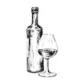 Bottle of wine vector illustration eps Royalty Free Stock Images
