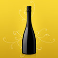 Bottle of wine on yellow background Royalty Free Stock Photo