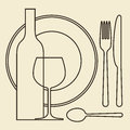 Bottle wineglass plate and cutlery illustration Stock Photography