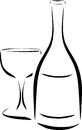 Bottle and wineglass vector illustration Stock Photo