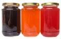 Bottled blueberry strawberry orange jam ii and fruit Stock Photos