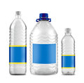 Bottled water in sizes isolated Royalty Free Stock Photo
