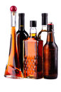 Bottles of alcohol different isolated on a white background Stock Image