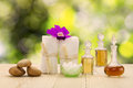 Bottles of aromatic oils with  pink orchid, stones and white towel on vintage wooden floor on blurred green bokeh background Royalty Free Stock Photo