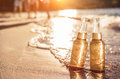 Bottles of beer on the beach Royalty Free Stock Photo