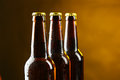 Bottles of beer with drops. Royalty Free Stock Photo