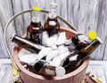 Bottles of beer iced down in a bucket Royalty Free Stock Image