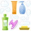 Bottles of body and hair care and beauty products shampoo soap mask gel scalp massage brush suds file contains Stock Images