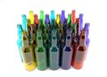 Bottles of colored glass empty grouped Stock Images