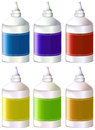 Bottles of colorful inks illustration the on a white background Royalty Free Stock Photo