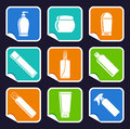 Bottles of cosmetic products on stickers Royalty Free Stock Photography