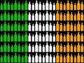 Bottles cut out against Irish flag Royalty Free Stock Photos